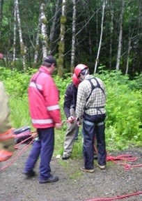 Rescuers Harnessing